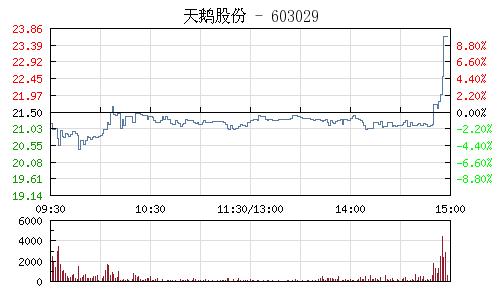 天鵝股份(603029)行情走勢圖